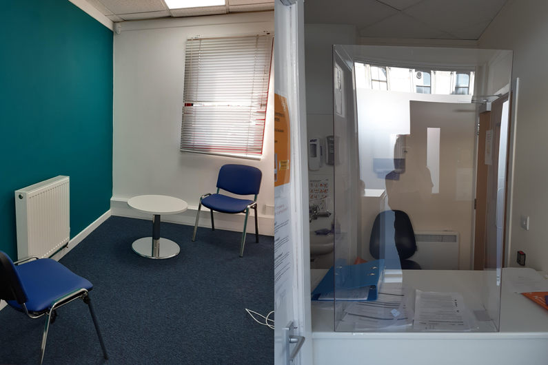 A meeting room and a harm reduction room